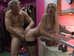 British wench Syren Sexton and her ally fuck in a shop