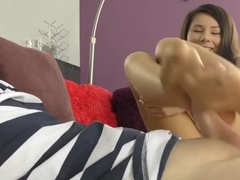 Brunette Teen Nylon Footjob - Karolinka's feet