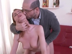 Cute college girl is seduced and rode by her elderly mentor
