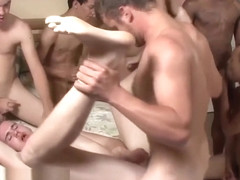 Cute boy gets his asshole bareback gangbanged - Bukkake Boys