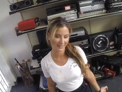 Pretty waitress pussy nailed by pawn man in the backroom