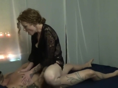 Milf gives massage, blowjob, gets a creampie!