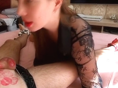 Hot senstitive cock kisses with a lot of lipstick marks Part 1