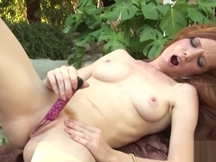 Skinny Redhead Heather Carolin Dildo Bangs Outside!