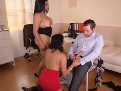 Busty brunettes, Sheila Ortega and Kesha Ortega are having a threesome with their boss, all day lo.