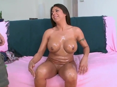 Heavy chested Candi Cox does lusty blowjob