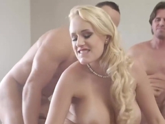 Lovely blonde milf in a red dress, Angel Wicky is drooling on two hard cocks
