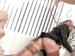 Rachele Richey is a new secretary who obviously likes to get a facial cumshot after a threesome