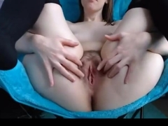 Nerdy girl fingering her gorgeous cunt