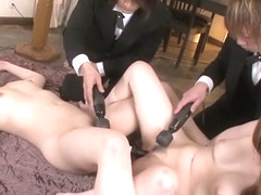 Kurara Iijima and Yukina Mori fuck together with the butlers
