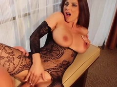 Roberta Gemma is a hot, insatiable woman who likes to wear bodystockings while getting fucked