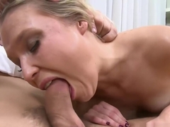 Divine blonde lady natalia rogue blows wang and bounces it