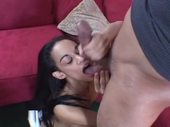 Exotic Latina babe is a cock jerking pro!