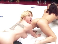 Pornstar sex video featuring Yasmine Loven, Jeze Belle and Lisa Tiffian