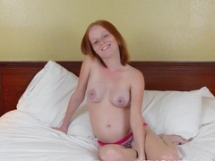 Alyssa Hart takes a toy deep in her shaved vagina