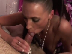 Erotic Tammie Lee sucessfully sucks cum out of a giant pecker