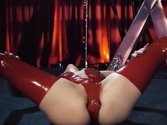Lusty Tattooed Joanna Angel Masturbating In Red Latex