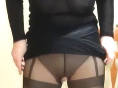 hot wife suspender pantyhose and see through top