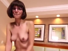 Nerdy Milf Cums while sucking young cock