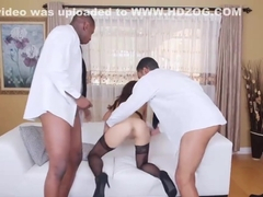 Eva Long fucked by two black dudes in mouth and pussy