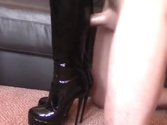 shoejob with leather leggings