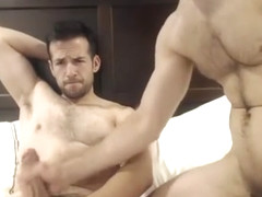 Two hot men wanking and sucking