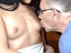 DADDY4K. Raven-haired miss with outstanding shapes loves old man
