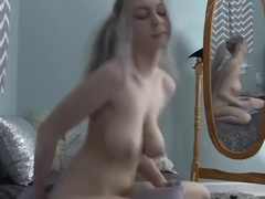 BUSTY Camgirl Rides Pillow Until she cums