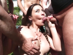 Julie absolutely loves to be in a gangbang