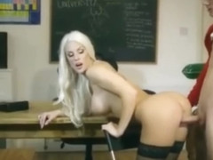 Dirty Teacher Blanche Bradburry Gets Fucked By Two Studs