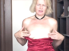 Mature blonde woman, Diana Douglas took off her red, satin dress and started masturbating like cra.