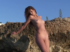 Nudist oceanside stunner Anna S goes naked on public beach naturist voyeur