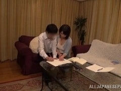 Busty Asian model enjoys giving hand work and a titty fucking