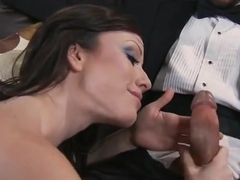 Attractive small titted Jennifer White makes sensuous blowjob