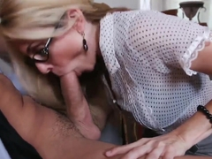 Hot blond office slut Angela Attison loving the big cock of Talon