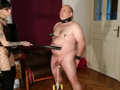 Beth Kinky - Sexy goth domina cbt and belly punch her slave pt1 HD