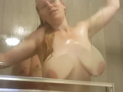 HUGE BOUNCY TITS SOPHIE FUCKED AGAINST THE SHOWER WINDOW BY DEX
