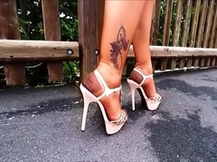 Pink Rhinestones Platform Sandals And Copper RHT Nylon Stockings
