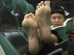 Asian ticklish Feet in Train