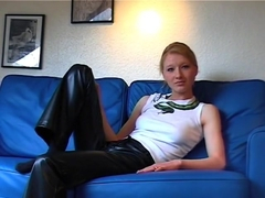 Blonde Teen in Leather Pants