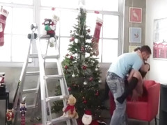Hot Girlfriend Kimber Lee Christmas Blowjob