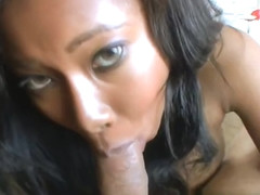 Stunning buxomy black Jessica Dawn getting a cum blast on her face