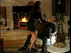 Glamorous porn star Tera Patrick rides a large hard weenie and receives doggy style