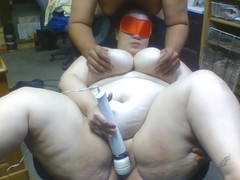 BBW Masturbates blindfolded at work