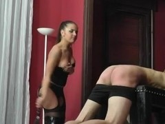 Whipping by two hot young dominas