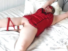 British Wife Magic Wand Bondage with Handcuffs and Ropes
