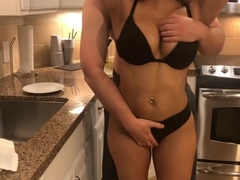 Housewife sucks dick in the kitchen