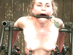 Payton Bell in Bound in a custom metal bondage rig Made to cum, she can't stop the orgasms that ri.
