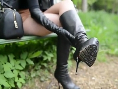 Alicia in leather boots smoking (JS)