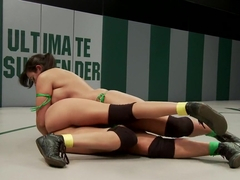 BIG TITS on the mat!! Pinned, Helpless, Fingered, and Strap-on Fucked!